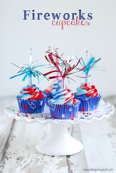 "Fireworks Cupcakes are a patriotic recipe for the 4th of July or any other patriotic holiday with fireworks cupcake toppers and popping ""fireworks"" in your mouth! Two ingredient cupcakes."