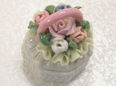 Porcelain Trinket Box Wicker Basket Roses Hobnail Jewelry Ring Vintage