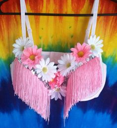Pink and White Daisy Fringe Bra with Sequins  EDM EDC by MiGente