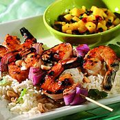 Thai-Style Grilled Shrimp with Mango Salsa, Recipe from Cooking.com