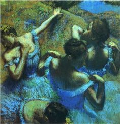 Print of Edgar Degas' Blue Dancers on canvas. Product: Wall artConstruction Material: Cotton canvas and woodFeatures: Reproduction of original art by Edgar Degas Edgar Degas, Degas Ballerina, Degas Paintings, Degas Drawings, Art Sur Toile, Art Ancien, Kunst Online, Pierre Auguste Renoir, Claude Monet