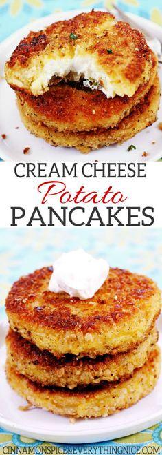 Cream Cheese Stuffed Potato Pancakes Cream Cheese Potato Pancakes - Everyone will love these cream cheese filled potato panckaes! Super delicious and perfect for Easter! Cream Cheese Potatoes, Mashed Potatoes, Potato Pancakes, Pancakes Cinnamon, Happy Pancakes, Potato Patties, Good Food, Yummy Food, Potato Recipes