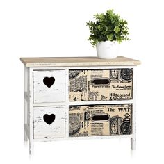 Vintage möbel weiss braun  Schrank Kommode, 78x66x33cm, Shabby-Look, Vintage braun   Möbel ...