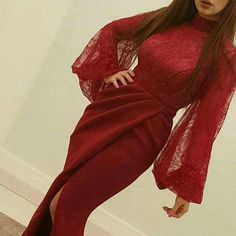 Burgundy Lace High Neck Prom Dresses Long Sleeves Side Split Mermaid Evening Dress Long Party Gowns Arabic sold by dalinke. Burgundy Evening Dress, Prom Dresses Uk, Prom Dresses Long With Sleeves, Cheap Evening Dresses, Mermaid Evening Dresses, Evening Gowns, Formal Dresses, Prom Gowns, Evening Party