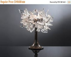 Table Lamp with Transparent flowers leaves and brass and cooper wires lighter for desk or bedside table. custom design transparent lamp yuda ozan table lighting lamp crystal table lamps table light table lighter crystal table lamp transparent flowers christmas table lamp flower wire lamp metal lamp 137.08 USD #goriani