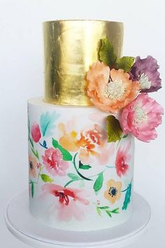 33 Elegantly Colored Wedding Cakes ♥ Pick a certain color palette for you wedding and a cake to match that colors. Check out these sophisticated colored wedding cakes and get inspired! #wedding #bride #weddingcake #weddingforward Naked Wedding Cake, Floral Wedding Cakes, Floral Cake, Wedding Cake Designs, Gorgeous Cakes, Pretty Cakes, Cute Cakes, Decors Pate A Sucre, Watercolor Cake