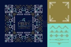 Merry christmas mono line set of frames and lettering elements in abstract art deco style