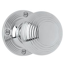 Jedo Ribbed Mortice Knob Pair Polished Chrome 53mm | Mortice Door Knobs | Screwfix.com Clearance £7.29
