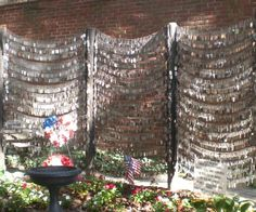 """This is a dogtag display of 'Fallen Military"""" personnel outside the Old North Church in Boston."""