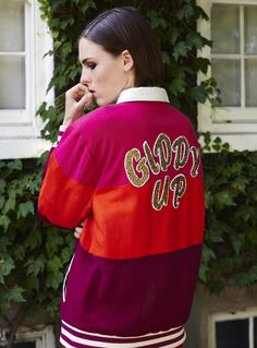 Model wears 'Varsity Jacket'