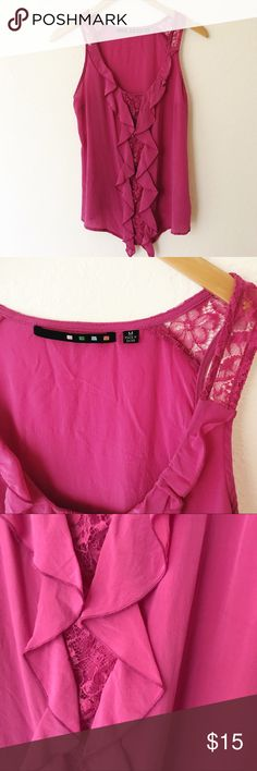 Nordstrom Bellatrix Pink Silk Sleeveless Top Excellent preowned condition, 100% silk hot pink Sleeveless Blouse by Nordstrom brand Bellatrix. Beautiful cascading ruffle and Lace Detail down the front. Dress it up or down! Nordstrom Tops