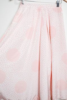 Amazing Vintage 80s/90s Pastel Pink and White High Waisted Polka Dot Festival Funky Skirt by LipstickDinosaur on Etsy