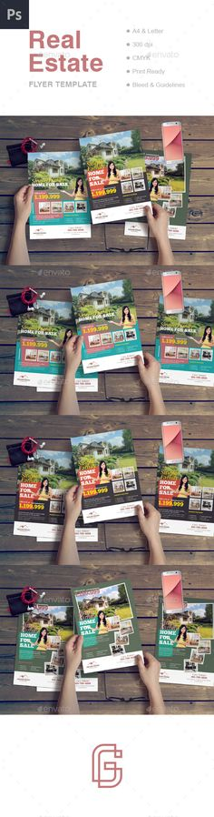 Real Estate Flyer This promotional template is appealing and exciting and is designed specifically for single property listings, open houses and other home for sale events. House features can be presented in detail due to the large number of pictures that can be displayed on this layout. The template is available in three color and design variants, and in two different formats: A4 and Letter.