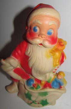 """Vintage Christmas SANTA plastic figure decoration 6 1/2"""" Dreamland Creations"""