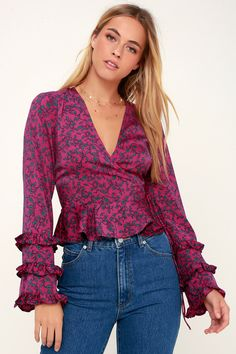 The Fifth Label Archer Magenta Satin Floral Print Long Sleeve Wrap Top looks great with a pair of wide-leg jeans! Long Sleeve Wrap Top, Wide Leg Jeans, White Fashion, Cute Tops, Magenta, Cute Dresses, Blouses For Women, Looks Great, Bell Sleeves