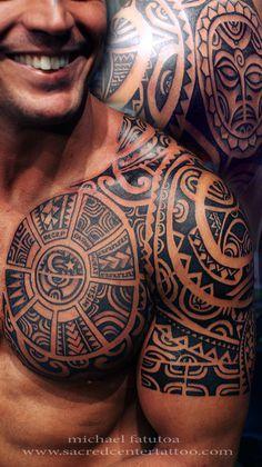 Tatau, Tattoo, Men, Chest, upper arm, Marquesas