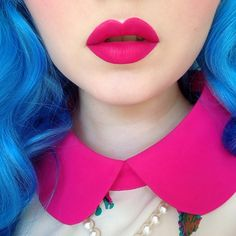 Loving the colour contrast between the Blue hair and Fuchsia Pink lip colour.