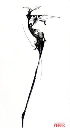Fashion illustration - couture fashion design sketch // Gianfranco Ferre