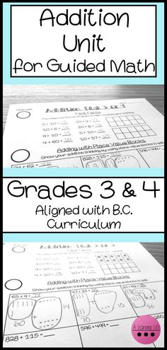 This grade 3 and 4 addition unit is aligned with the BC curriculum and intended for guided math or a math workshop format. It includes 9 detailed lesson plans with teacher talk and diagrams, a printable blank math notebook page, 2 versions of the daily st Math Teacher, Math Classroom, Teaching Math, Third Grade Math, Grade 3, Fourth Grade, Literacy And Numeracy, Math Centers, Teaching Addition