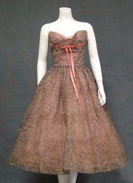 Gorgeous Flocked Chiffon Strapless 1950's Cocktail Dress