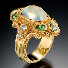 Moonflower Ring by Kent Raible / Green grossular Garnets, Moonstone, Diamonds, Gold / Primavera Gallery - Downtown Moonstone Jewelry, Pearl Jewelry, Bling Jewelry, Jewelry Art, Antique Jewelry, Jewelry Accessories, Jewelry Design, Antique Rings, Vintage Jewellery