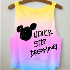 Never Stop Dreaming crop top - Fresh-tops Disney Cute, Disney Style, Walt Disney, Disney Magic, Disney Mickey, Disney Pjs, Disney Movies, Crop Top Outfits, Cool Outfits