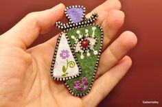 Cremallera fieltro regalo de Pin broche para mujer por GalleeValley