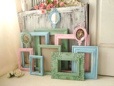 Green Pink and Blue Frame Set Made to ORDER by WillowsEndCottage
