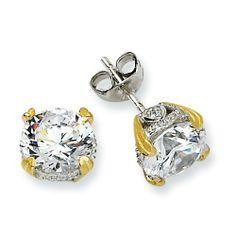 Sterling Silver & Gold-plated 8mm CZ Stud Earrings Jewelry Adviser Stud Earrings. $35.08