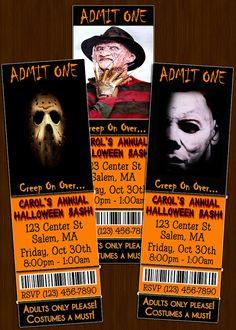 Custom Halloween Party Ticket Invitations -  DIY Printable File