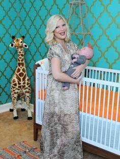 Peek inside Tori Spelling's turquoise, orange and retro yellow #nursery for baby Finn