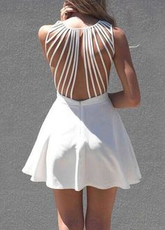 Sexy Strappy Solid White A Line Dress