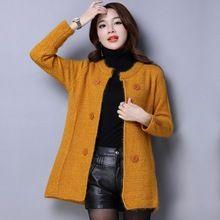 Europeo Mujeres Delgadas Cardigan 2016 Otoño Invierno Suéteres de Punto Outwear Suéter de la Rebeca de Manga Larga Informal Femenina(China (Mainland))
