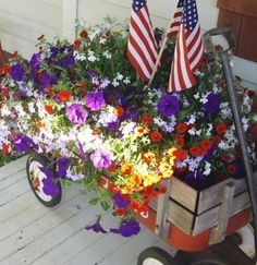 Flowers in an old red radio flyer wagon