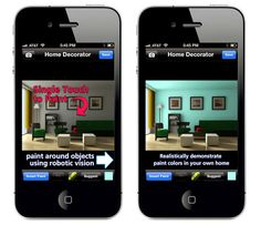 The Home Decorator Pro app for iPhone allows you to take a photograph of a room in your home and virtually apply different paint colors to t...