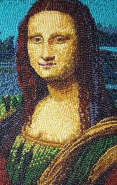 jelly belly mona lisa by Divonsir Borges Seed Art, Mona Lisa Parody, Mona Lisa Smile, American Gothic, Jelly Belly, Famous Art, Arts Ed, Pointillism, Italian Artist
