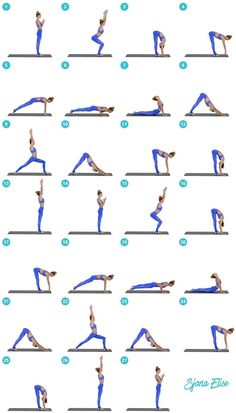 Beginner Yoga Flow Sequence - yoga ,pilates etc - Yoga Fitness, Fitness Workouts, Summer Fitness, Health Fitness, Yoga Flow Sequence, Yoga Sequences, Sun Salutation Sequence, Yoga Routine, Yin Yoga