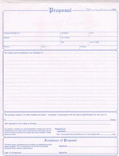 Totally free proposal templates proposal form for Home construction bids
