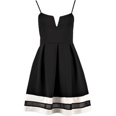 Boohoo Lyla Monchrome Plunge Skater Dress ($35) ❤ liked on Polyvore featuring dresses, women dresses, bodycon maxi dress, slip dress, tuxedo dress and cocktail dresses