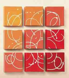 Place painted canvas together to form a square then squirt/swirl white paint.