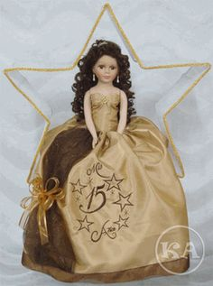2837b69e3e4 Emily 21 inch Quinceanera Doll in Champagne and Brown. Big Pillows