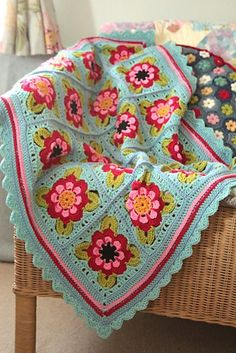 Ravelry: Painted Roses Blanket  by Sandra Paul (Cherry Heart) -  pattern available to purchase