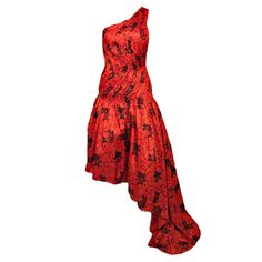 NOLAN MILLER COUTURE Red Ruched Asymmetrical Dress