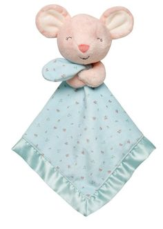 Carter's Plush Pink Mouse Rattle Turquoise Security Blanket Lovey Baby Gift NWT #Carters