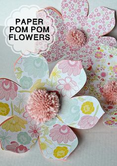 Simple DIY Pom Pom Paper Flowers- easy to make and so cute! Great idea for putting on wrapped gifts! Found on www.thirtyhandmadedays.com