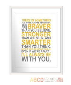 Nursery Winnie the Pooh quote print You are braver  by MiraDoson, $19.00