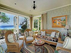 A Hamptons style house - on Bainbridge Island, Washington State Sofa Decor, The Hamptons, House, Home, Dining Room Bench, Wicker Decor, Hamptons Style, Wicker Chair, Hamptons Style Homes
