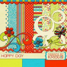 Happy Day mini kit freebie from Designs by Krista #digiscrap #scrapbooking…