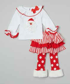 Loving this White Santa Top & Skirted Leggings - Infant & Toddler on #zulily! #zulilyfinds