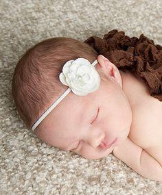 White Skinny Flower Headband Baby Photo Prop. White Elastic. White headband. baby girl photo photography. Baby shower gift Headbands Rose. $6.49, via Etsy.